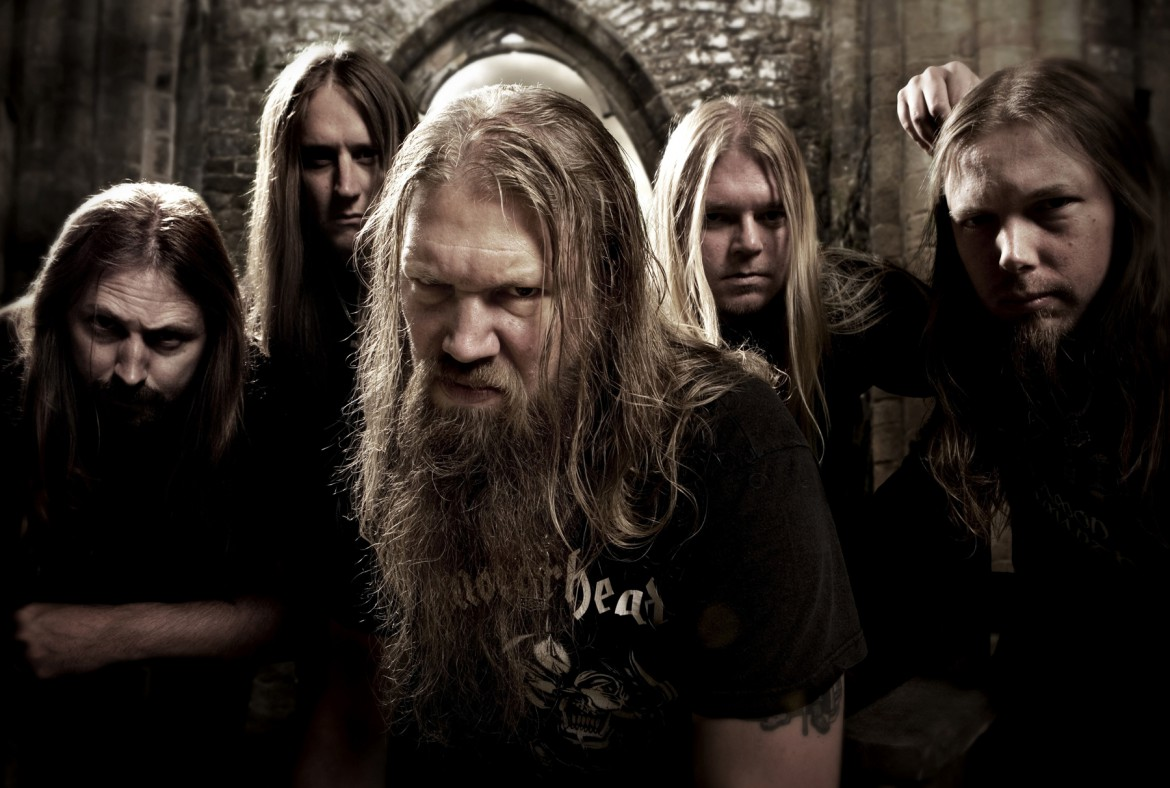 Amon Amarth 08/07/08. Shot in studio in London with background effects added. -;