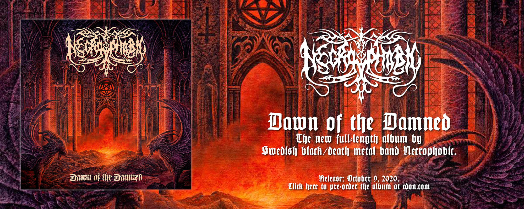 "Buy the new Necrophobic album ""Dawn of the Damned"""